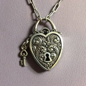 Brighton Verona Heart Lock + Key Necklace